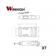 XT: Side-Release Plastic Buckle (Dimensions)