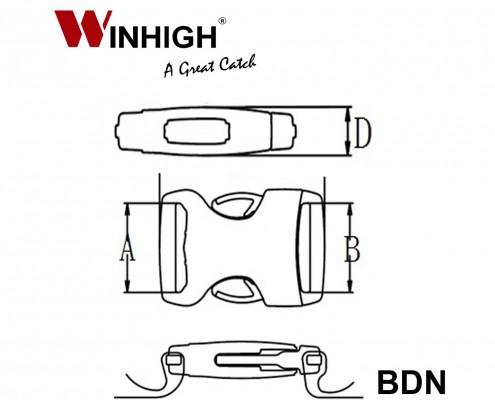 BDN Bondi Plastic Side-Release Buckle (Dimmensions)