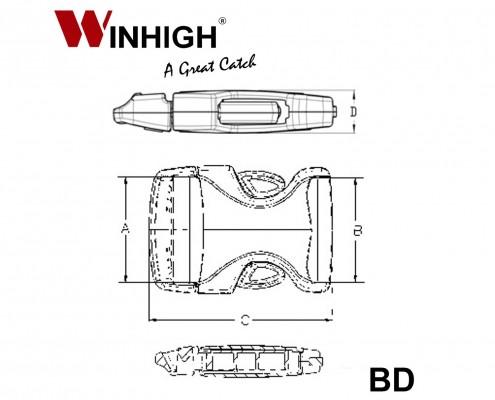 Bondi Plastic Side-Release Buckle (Dimmensions)