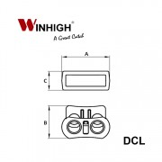 DCL Two-hole Plastic Cordlock (Dimmensions)