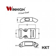 HXT Curved Side-Release Plastic Buckle (Dimmensions)