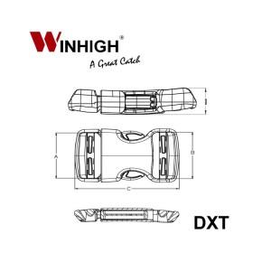 XT Dual Side-Release Plastic Buckle DXT (Dimmensions)