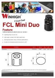 FCL Mini Duo Plastic Cordlock Spec Sheet