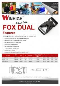 FOX Dual Plastic Side-Release Buckle (DFOX) Spec Sheet