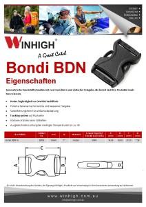BDN Bondi Kunststoffschnalle Spec Sheet Plastic Side-Release Buckle