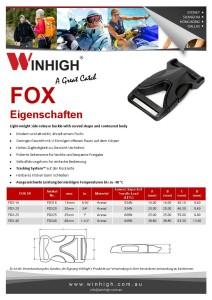 FOX Kunststoffschnalle Spec Sheet Plastic Side-Release Buckle