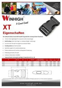 XT Kunststoffschnalle Spec Sheet Plastic Side-Release Buckle